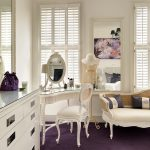 Vintage Bedroom Vanity Windows Shutters Wall Mirror Modern White Dresser Purple Carpet Ehite Bench White Chair Vanity Mirror Table Lamp Chandelier