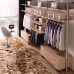 Walking Closet, Wooden Floor, Open Wooden Shelves, Rails To Hang Clothes, Wooden Drawer Cabinet