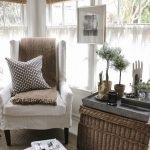 White Cuhioned Tall Chair, Rattan Rug, Rattan Box As Table, Rattan Shade