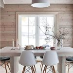 White Mid Century Modern Chairs, Sturdy Wooden Rectangular Table, Wooden Floor, Grey Pendant, Wooden Wall, Wooden Ceiling