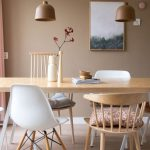 White Mid Century Modern Chairs, Wooden Floor, Wooden Table, Brown Beige Wall, Brown Pendant, Wooden Chairs