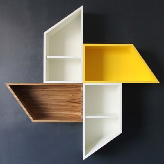 windmill floating shelves with white yellow brown