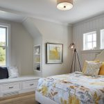 Window Seats Small Windows Colorful Bedding Yellow Pillows Industrial Floor Lamp Headboard White Drawers Built In Shelves Pillows White Pendant Lamp