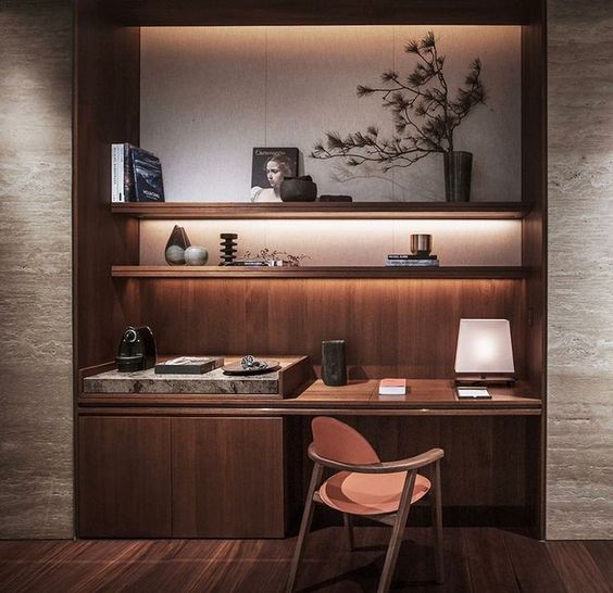 wooden alcove, wooden floating shelves, wooden table, wooden cabinet, white upper wall, wooden chair