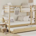 Wooden Bunk Bed Wit Trundel Under, Stairs, Side Table