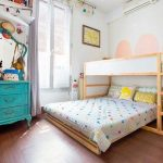 Wooden Bunk Bed With White Board, Double Bed At The Bottom Area, Wooden Floor, Green Classic Cabinet With Mirror