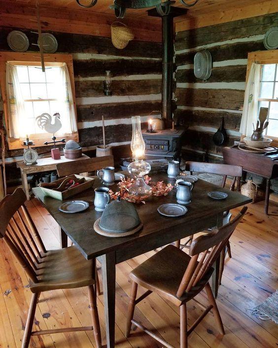 wooden cabin, wooden floor, wooden wall, wooden ceiling, dark wooden dining set, black metal fireplace