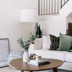 Wooden Coffee Table, Grey Rug, White Sofa, White Floor Lamp