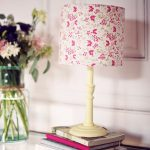 6. Pink Floral Lamp Shade From Fabric For Shabby Chic Style