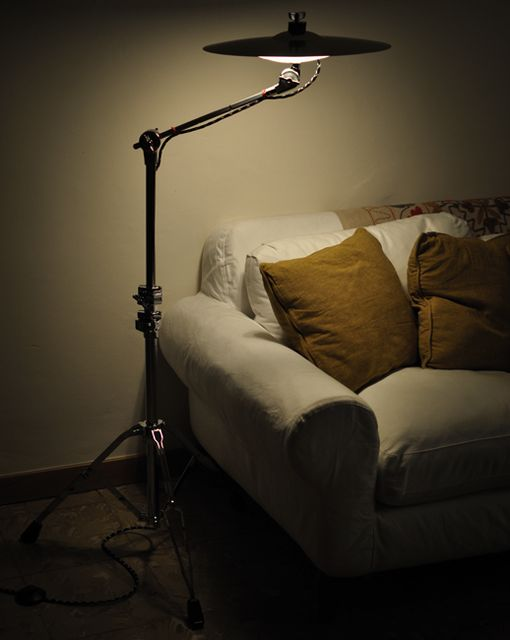 Hi Hat lamp, white sofa, mustard pillow