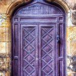 Antique Door In Purple, Sharp Arch, Yellow Wall