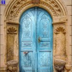 Antique Door In Sky Blue, Yellow Stone Arch Frame