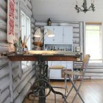 Antique Drafting Table Chandelier Small Chairs Table Lamp White Wooden Beams Wall Windows Wall Decor White Wine Cupboard Wooden Floor
