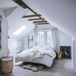 Attic Bedroom, Wooden Floor, White Wall, White Ceiling, Bed, Windows, Ceiling Window, Rattan Basket, Pendant, Wooden Beam