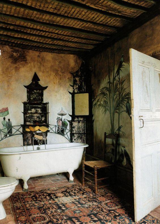 bathroom, brown floor tiles, old wall, white tub, rattan ceiling, wooden chair