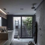 Bathroom, Grey Floor, Grey Wall, Shower In The Ceiling, Grey Bathroom Vanity, Mirror, Sliding Glass Door, Outdoor Shower