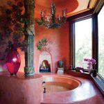 Bathroom, Pink Marble Surface, Round Ceiling, Chandelier, Glass Window, Round Tub