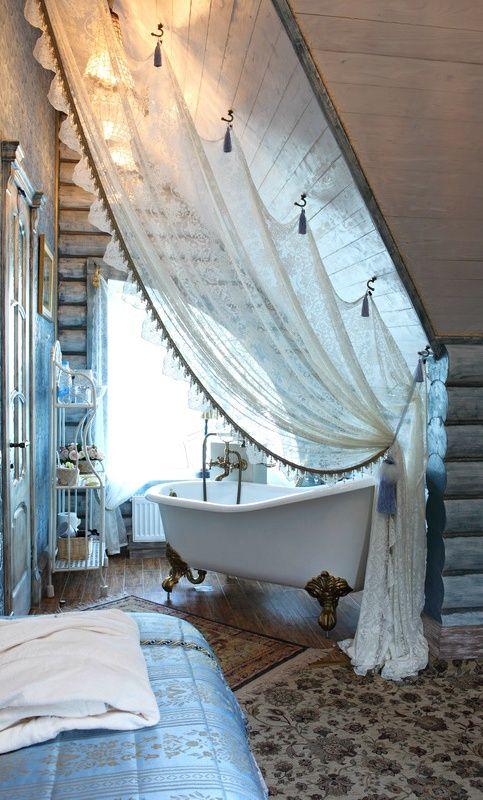 bathroom, wooden floor, sloping ceiling, curtain, window