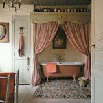 Bathroom, Wooden Floor, Wooden Ceiling, Pink Curtain, Pink Tub, White Wall, Door, Chandelier