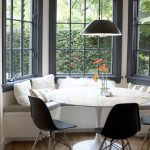 Bay, Curvy White Bench, White Tulip Table, Black Modern Chair, Black Pendant, Black Framed Window