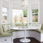 Bay, White Wooden Bench, Dark Wooden Floor, White Table, White Wall, White Pendant, Soft Green Cushion, Striped Pillows
