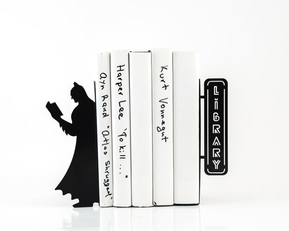 black thin steel book end with batman shadow