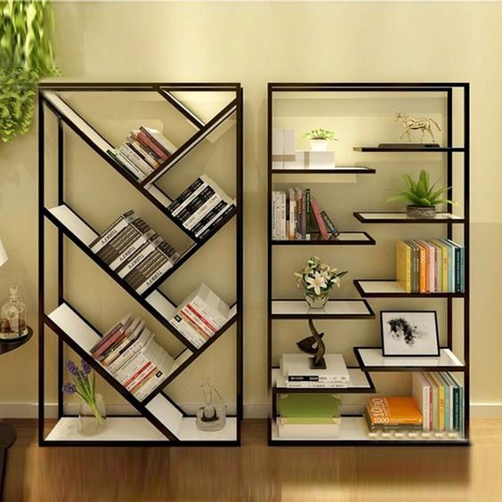 black white shelves, one with zigzag pattern, one with half floating boards
