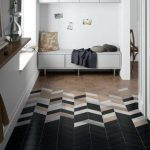 Black White Wooden Chevron Floor Tiles, Grey Wooden Bench, White Wall Window