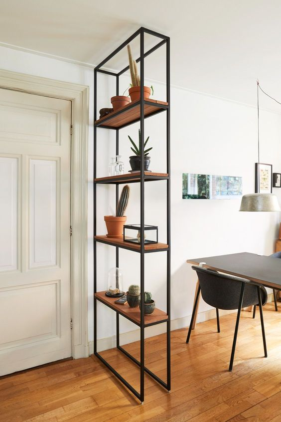 black wire with wooden shelves for partition