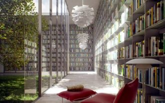 bookshelves on the alley, glass wall, red lounge chair with ottoman, white pendant