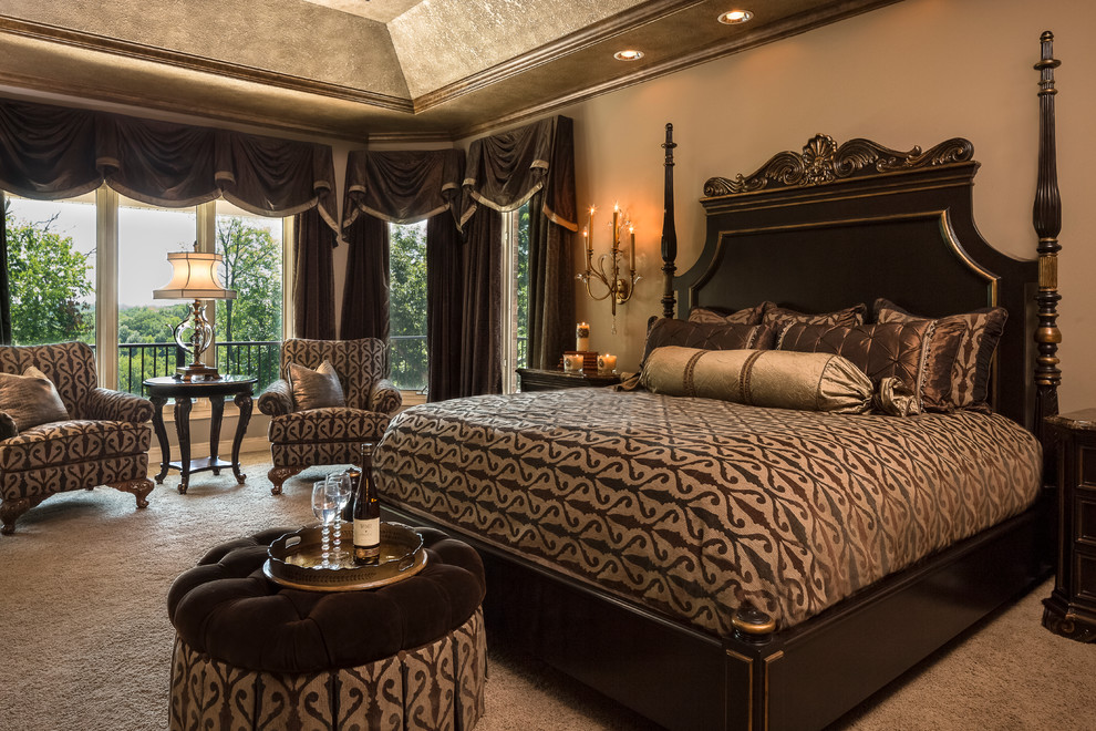 brown bedroom furniture brown glossy bed canopy headboard brown valance curtains nightstands wall sconces brown tufted ottoman armchairs side table windows table lamp