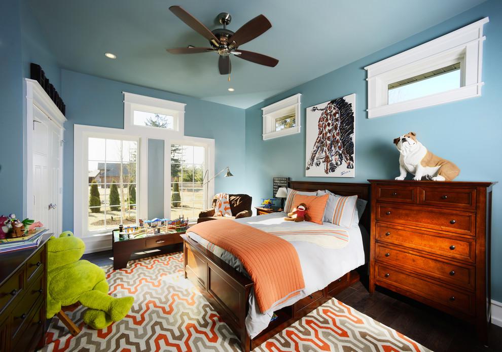 brown bedroom furniture ceiling fan windows blue walls wooden dresser wooden bed wooden headboard playboard brown armchair floor lamp colorful rug wooden floor