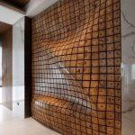 Brown Wavy Wall, Beige Floor, Wooden Ceiling