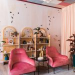 Colorful Blocks On The Ceiling, White Pendant, Soft Pink Wall, Wooden Floor, Blue Rug, Pink Velvet Chairs, Pink Round Bench