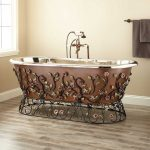 Coppery Bathtub With Flowery Ornate Wrought Iron Golden Inside, Golden Faucet