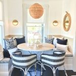 Dining Nook, Black Wooden Floor, White Wall, Rattan Pendant, White Built In Bench Black White Rattan Chair