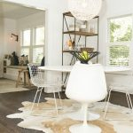 Dining Room, Wooden Floor, White Wall, White Round Pendant, White Dining Set