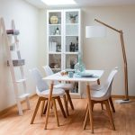 Dining Room, Wooden Floor, Wooden Dining Set With White Dinin Table Wooden Legs, White Chairs Wooden Legs, Wooden Floor Lamp, Whie Cabinet, White Rack
