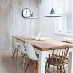 Dining Room, Wooden Floor, Wooden Taable With White Legs, Midcentury Chairs, Wooden Wall, White Wall, Black Pendant,