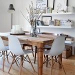 Dining Room, Wooden Floor, Wooden Table, White Midcentury Chairs, White Floating Shelves ,white Wall, Black Table Lamp
