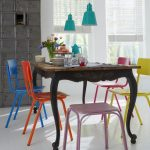 Dining Set, Dark Wooden Classic Table, Colorful Metal Chairs And Tool, White Floor Tiles, White Wall, Green Pendant, Grey Cabinet