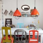 Dining Set, White Wooden Table With Drawers, Colorful Wooden Chairs, Orange Pendant, White Wall And Ceiling, Checkered White Gry Floo
