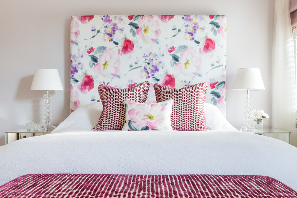 diy headboard floral pattern white glass table lamps mirrored nightstands white bedding red bench red pillows window white curtain