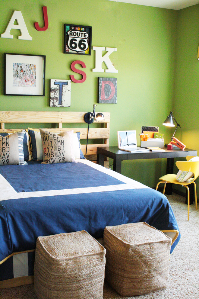 diy headboard wall decor wooden palete headboard blue bedding pillows cream bean bags yellow chair black desk chrome table lamp black wall sconce