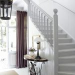 Entrance, White Wooden Floor, White Wooden Wall, Wooden Half Round Table, Wooden Artistic Legs, Pendant