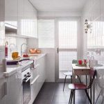 Galley Kitchen, Grey Floor Tiles, White Wall Tiles, White Cabinet, White Top, Table, Stool