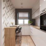 Galley Kitchen, Wooden Floor, White Smooth Cabinet, White Backsplash, Black Wall, White Wallpaper, Wooden Island, Black Stools