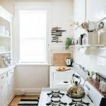 Galley Kitchen, Wooden Floor, White Wall, White Kitchen Cabinet, White Wink, White Shelevs, White Floating Open Shelves, White Wtove, Windows