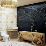 Golden Tub, Golden Shade With Fish Scale Pattern, Marble Floor, Marble Wall, Black Marble Wall With Golden Accents, Golden Chanelier