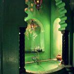 Green Bathroom, Green Wall, Green Tub, Green Jagged Arch, Moroccan Pendants